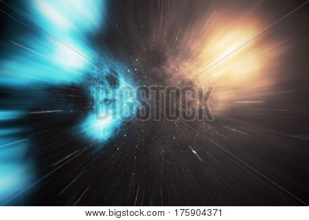 glowing wormhole in space, interstellar warp, traveling trough space and time, 3d rendering