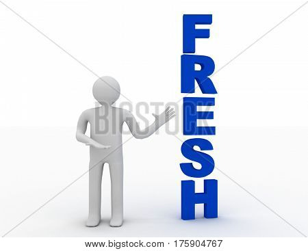3d man standing and presenting red fresh word sign
