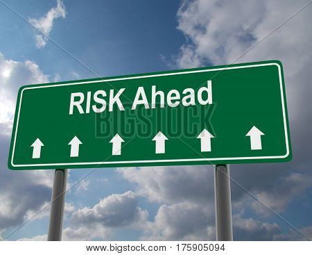 3d road sign concept. risk ahead. rendered illustration