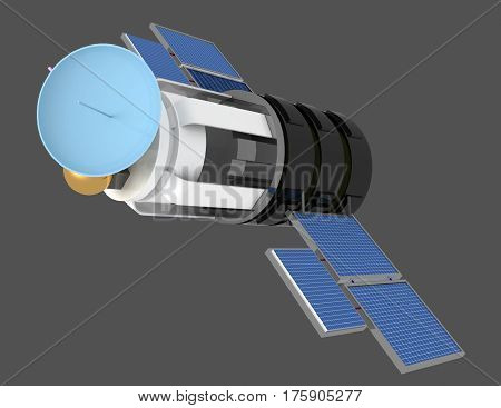 3d illustration of space satellite over gray background
