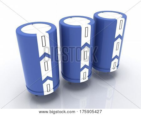 3d detailed electrolytic capacitors. 3d rendered illustration