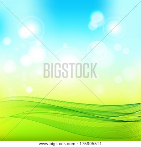 Abstract spring background.Blue-green background with bright patches of sunlight and abstract transparent wave.