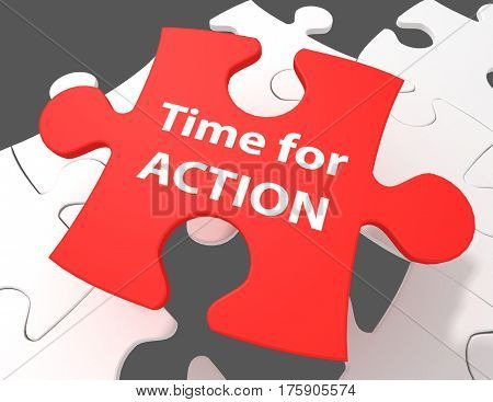 Time concept: Time For Action on White puzzle pieces background 3D rendering