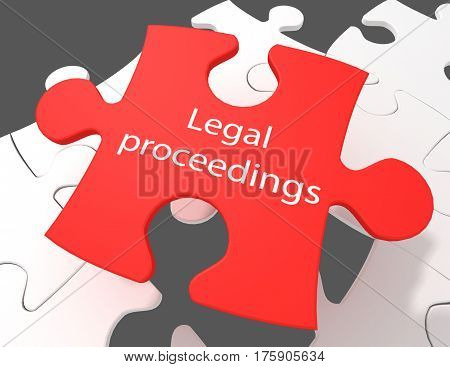 Law concept: Legal Proceedings on White puzzle pieces background 3D rendering