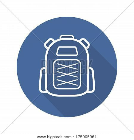 Backpack flat linear long shadow icon. Tourist's rucksack. Schoolbag. Vector line symbol