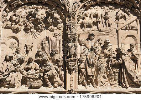 Salamanca (Castilla y Leon Spain): exterior of the medieval cathedral facade detail