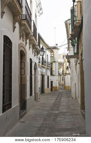 Cordoba (Andalucia Spain): old typical alley in the Juderia