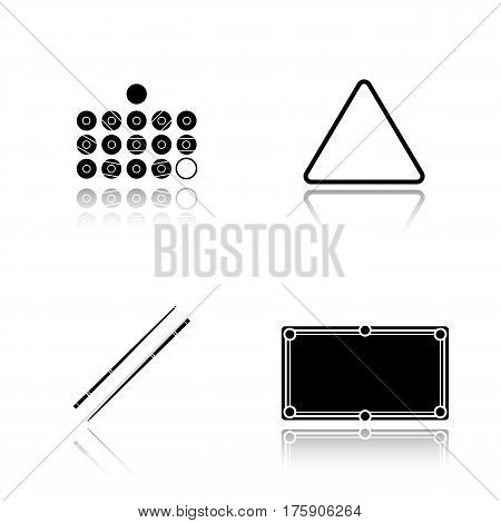 Billiard equipment drop shadow black icons set. Billiard balls, table, cues and ball rack. Isolated vector illustrations