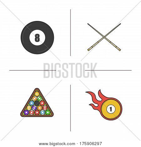Billiard color icons set. Pool equipment. Cuesports accessories. Eight ball, cues, ball rack and burning ball. Isolated vector illustrations