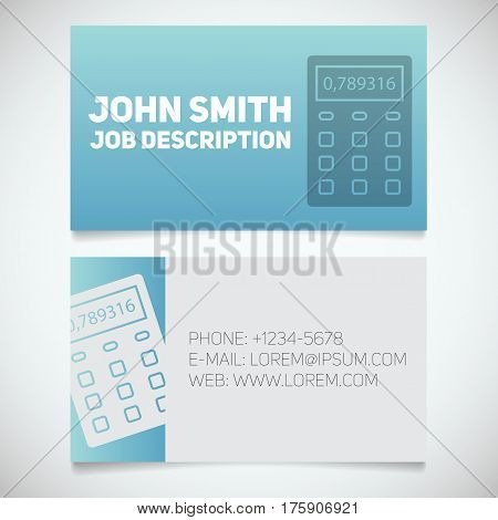 Business card print template with calculator logo. Easy edit. Accountant. Financier. Booker. Stationery design concept. Vector illustration