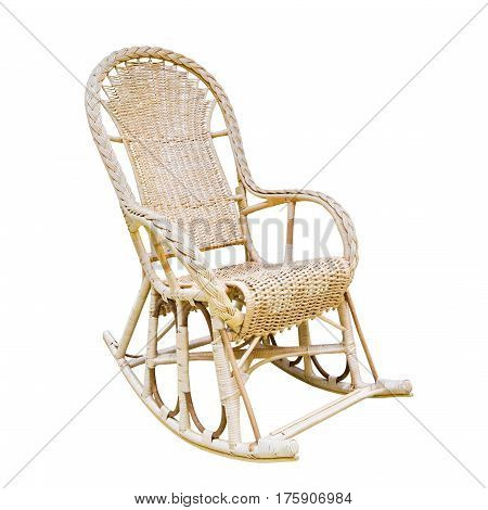 rattan wicker rocking chair on white background