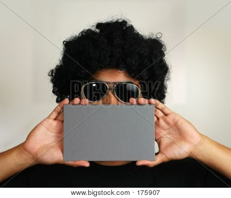 Blank Card Over Afro Wig Man