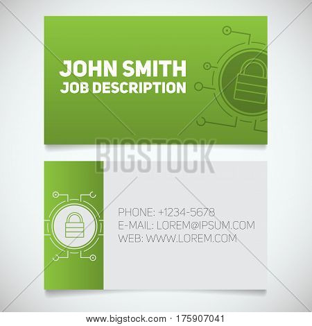 Business card print template with closed lock logo. Easy edit. Cyber security. System administrator. Padlock in microchip pathways. Stationery design concept. Vector illustration