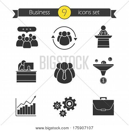 Business and teamwork icons set. Silhouette symbols. Team communication, speaker podium, office manager, company workers, sales funnel, growth chart, cogwheels, briefcase. Vector isolated illustration