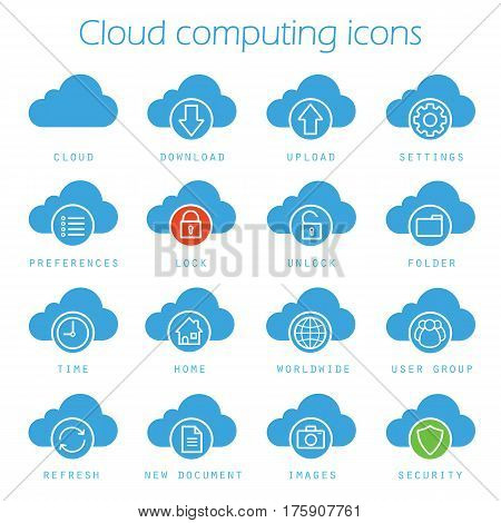 Cloud computing icons set. Online data storage silhouette symbols. Download, upload, settings, new document, preferences, lock, unlock and folder. Vector isolated illustration