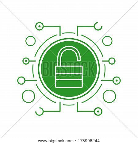Cyber security flat linear long shadow icon. Access granted. Open padlock in microchip pathways. Vector line symbol