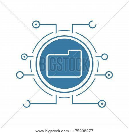 Web storage flat linear long shadow icon. Cloud computing. Folder in microchip pathways. Vector line symbol