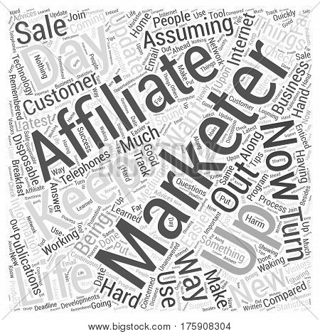 A day In The Life Of An Affiliate Marketer Word Cloud Concept