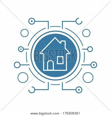 Smart house flat linear long shadow icon. Smart home in microchip pathways. Vector line symbol