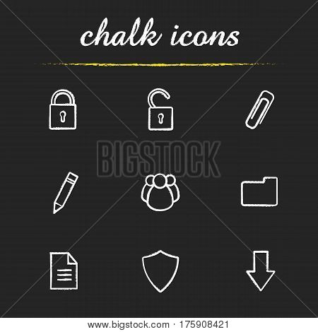 Digital chalk icons set. Cyber security. Access granted and denied, save, edit, download buttons. Social network, folder, document, shield. Isolated vector chalkboard illustrations