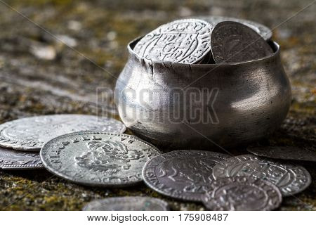 old money of the Grand Duchy of Lithuania tymf coins metal retro style selective focus