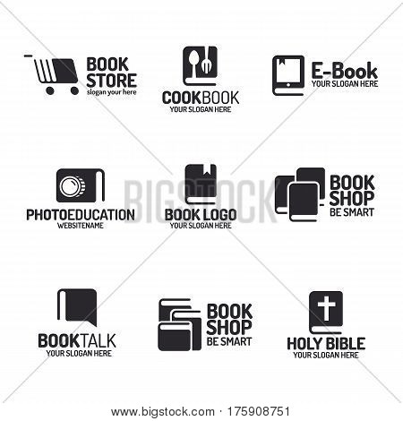 Book logo set flat black style isolated on background for use bookshop, bookstore, cookbook, booktalk, photoeducation, market, sale etc. Vector Illustration