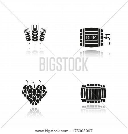 Beer and alcohol production drop shadow black icons set. Wooden barrels, hop cones, wheat ears, rum barrel with tap and drop. Isolated vector illustrations