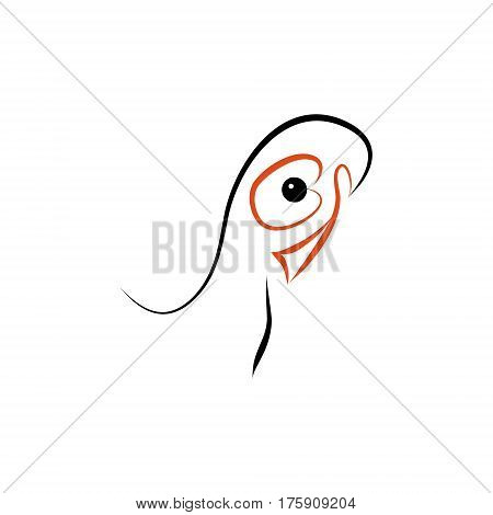 The head of the bird with red beak on white background vector