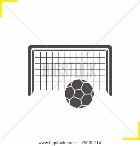 Soccer goal icon. Silhouette symbol. Football gate and ball. Negative space. Vector isolated illustration