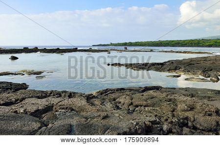Lava Shoreline At The Puuhonua O Honaunau Place Of Refuge National Park, Hawaii