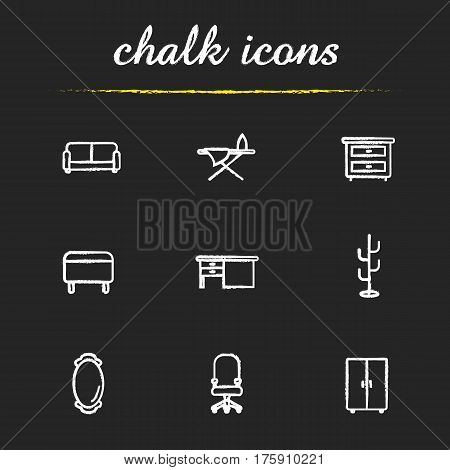 Furniture chalk icons set. Room interior. Couch, wall mirror, wardrobe, bedside table, ironing board, writing desk, ottoman, hanger, computer chair on wheels. Isolated vector chalkboard illustrations