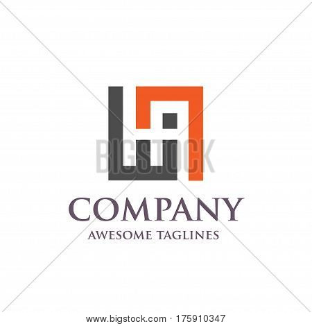 creative letter HA square logo. Abstract business logo design template. modern Letter HA Logo template editable for your business.