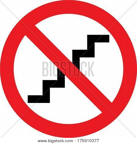 No stairs allowed sign on white background