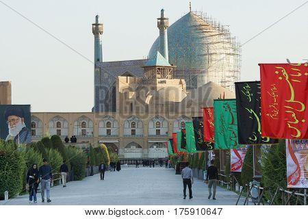 ISFAHAN, IRAN - OCTOBER 11, 2016: Imam Mosque on Meydan-e Imam during Moharram on October 11, 2016 in Isfahan, Iran