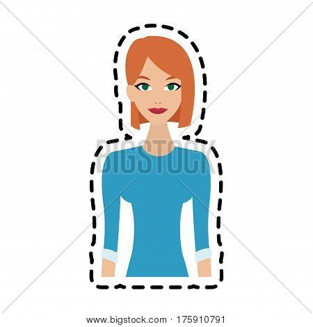 young pretty red hair woman with blue long sleeve shirt icon image vector illustration design