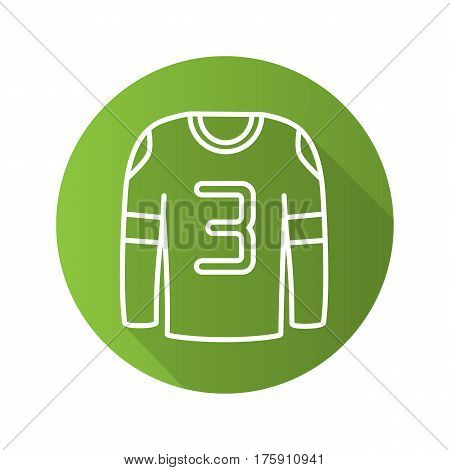 Hockey player shirt. Flat linear long shadow icon. Green long sleeve shirt. Vector line symbol