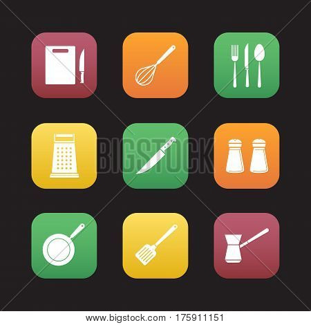 Cooking instruments flat design icons set. Cutting board, knife, whisk, silverware, grater, salt and pepper shakers, skillet, spatula, turkish cezve. Web application interface. Vector illustrations