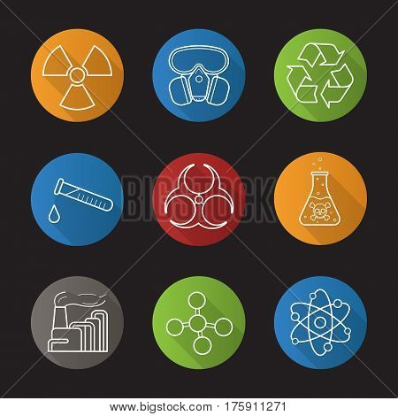 Chemical industry flat linear long shadow icons set. Gas mask, recycle symbol, chemical test tube, danger poisonous liquid, factory pollution. Biohazard and molecule symbols. Vector line illustration
