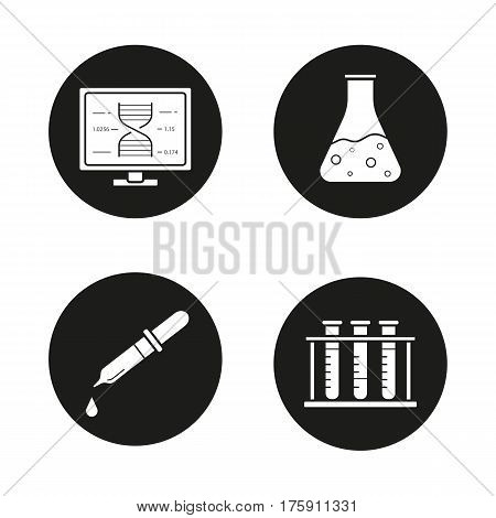 Science laboratory icons set. Dna research, beaker with liquid, medical dropper, test tubes rack. Vector white silhouettes illustrations in black circles