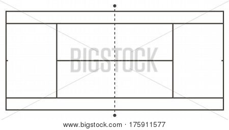 Tennis court illustration. Top view, Vector illustration