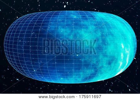 Across the universe. Traveling in space. Time travel. Scene of overcoming the temporary space in cosmos, 3d rendering