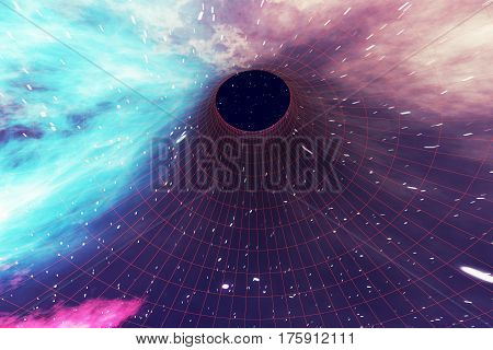 Star Warp or Hyperspace, abstract speed tunnel warp in space. Across the universe. 3d rendering