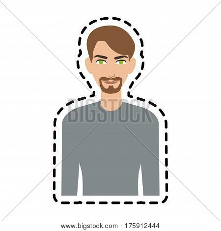 handsome young man wearing long sleeve shirt  icon image vector illustration design