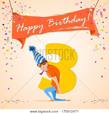 confused boy holding the number 3 on a colorful background. banner Happy Birthday. vector illustration.