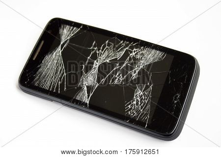Modern smartphone with broken screen on white background