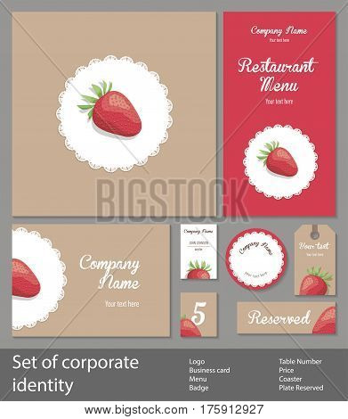 Set of corporate style elements with fruits, business template. Branding for a restaurant, cafe or pastry shop, strawberries on white napkin, on background of kraft paper