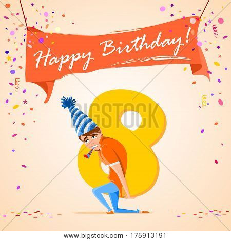 confused boy holding the number 8 on a colorful background. banner Happy Birthday. vector illustration.