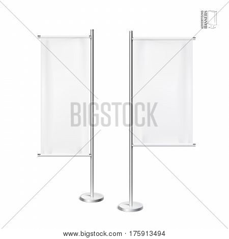 Outdoor advertising banners shield mockup, template. Illustration isolated on white background. Ready for your design. Product advertising