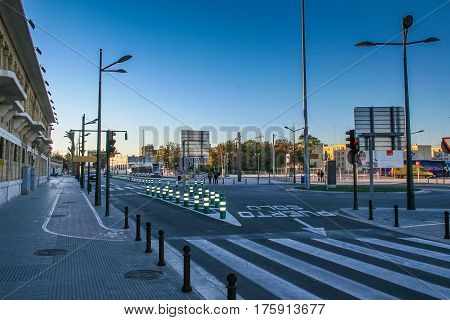 Street. Valencia -- city in Spain capital of the Autonomous community Valencia province. November 2007