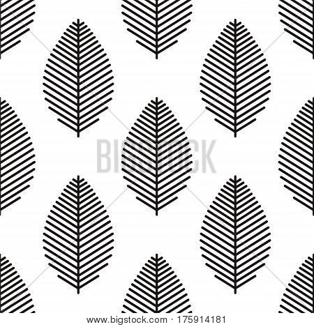 Vector seamless pattern with leaf skeleton on white background